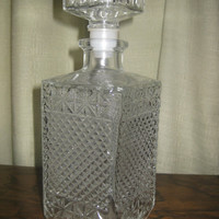 Exquisite French Vintage cut glass decanter, pressed glass, whiskey decanter, liquor decanter, square, alcohol servicing, Made in France,