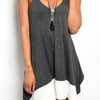 Spaghetti Strap Color Block Loose Fit Dress - Charcoal