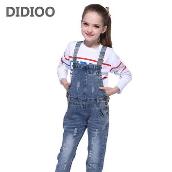 Children Ripped Jeans For Girls Jumpsuits Casual  Denim Overalls For Girls Clothing Spring Autumn Kids Trousers