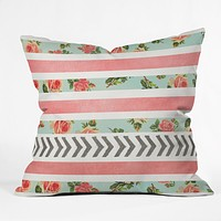 Allyson Johnson Floral Stripes And Arrows Throw Pillow