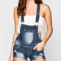 Almost Famous Destructed Womens Denim Short-Alls Dark Blast  In Sizes