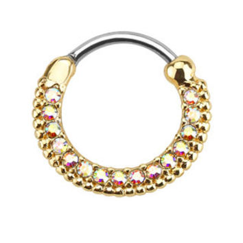 Round Paved CZ Gems Gold IP Septum Clicker