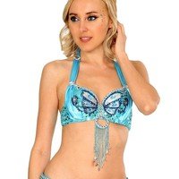 Turquoise Angel Wings Halter Bra Top