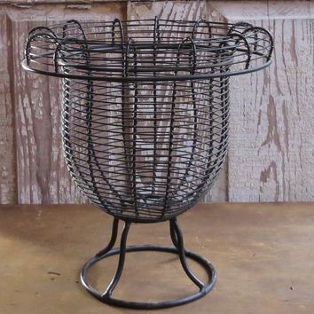 Vintage French Wire Egg Basket, Pedestal Base, Black Metal, Wirework Urn, Garden Bucket, Fruit Holder, Rolled Rim, Paris Flea Market