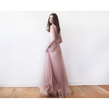 Backless Blush Pink Formal Tulle Maxi Dress  1050