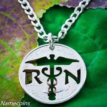Nurse Necklace, RN Jewelry, Handcrafted cut coin by Namecoins