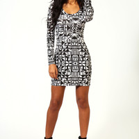 Natalie Monochrome Print Bodycon Dress