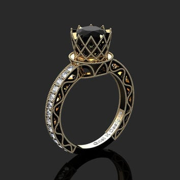 Classic Armenian 14K Yellow Black Gold 1.0 Ct Black and White Diamond Engagement Ring R782-14KYBGDBD