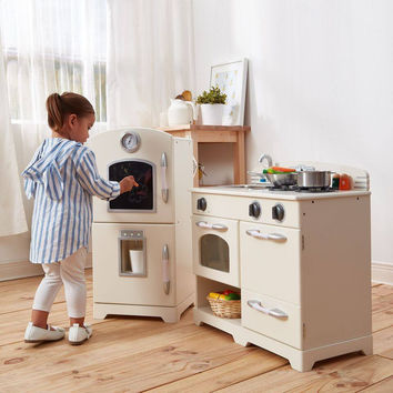 Teamson Kids - Retro White Play Kitchen (2 Pieces)
