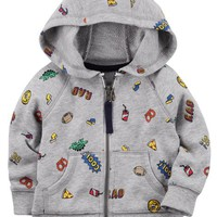 Zip-Up Snack Graphic Hoodie
