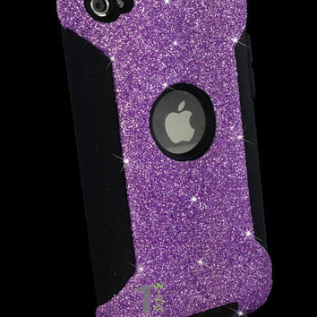Custom Glitter Case Otterbox for iPod Touch 4G Orchid Purple/Black