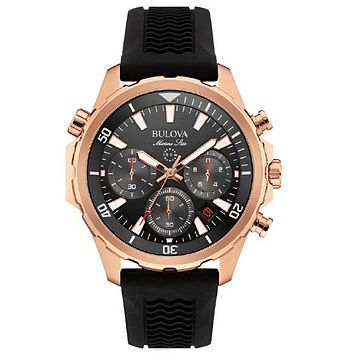 Bulova Mens Marine Star Chronograph - Rose Tone - Black Dial - Rubber Strap