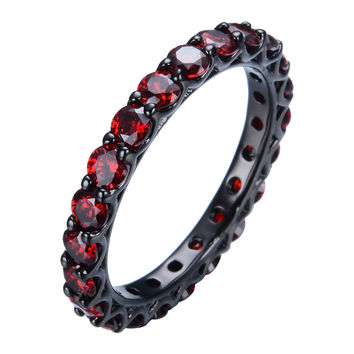 Vintage Ruby Jewelry Women Wedding Ring Red Band 10KT Black Gold Filled Engagement Rings