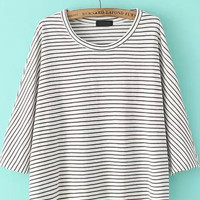 White Long Sleeve Striped Shirt