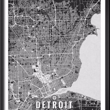 Detroit Michigan Map with Coordinates