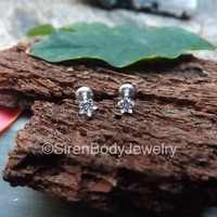 """Tragus piercing stud 16g crystal clear star prong set gemstone helix earring 5/16"""" length post silver flat back labret stainless steel one"""