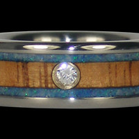 Titanium Australian Opal Wood Titanium Diamond Ring – Hawaii Titanium Rings