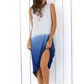 Stylish Sleeveless Ombre Color Women's Midi Dress