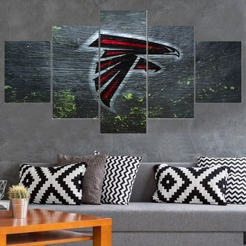 New Style Atlanta Falcons 5 Pcs Canvas Painting Calligraphy Sport Ball Team Poster Wall Art Paintings Modern Home Decor Picture