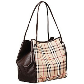 Burberry Small Haymarket Check Tote Bag Brown 607797