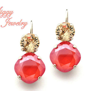 Swarovski® Crystal Earrings, 12mm Cushion Cut Light Coral, 8mm Light Silk, Double Drop Lever Back, Wedding, Assorted Finishes, Gift Packaged