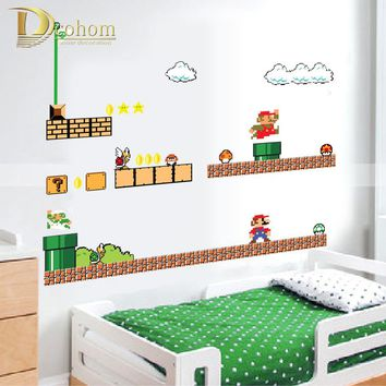 Removable Cartoon Super Mario Bros Wall Stickers For Kids Rooms