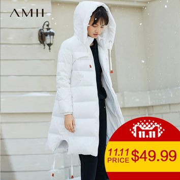 Amii Minimalist 2017 Women 90% White Duck Down Coats Loose Knee Length Padded Jacket with Hooded