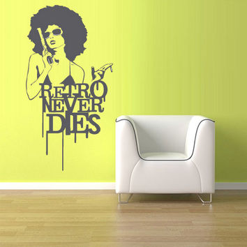 rvz1045 Wall Vinyl Sticker Decal Words Sign Quote Retro Never Dies Girl Guns