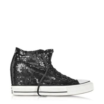 Converse Limited Edition Designer Shoes All Star Mid Lux Black Sequins and Canvas Wedge Sneaker