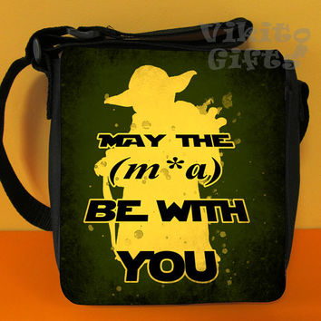 Yoda bag, May the mxa be with you (May the force be with you) Messenger Shoulder bag, Yoda watercolo Small Bag
