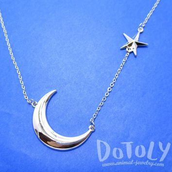 Celestrial Crescent Moon and Stars Charm Necklace in Silver | DOTOLY