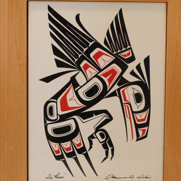 "Haida, ""The Raven"" Clarence A. Wells Wood Box Ceramic Tile, 10.5 x 8.5"""