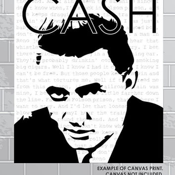 Johnny Cash | Folsom Prison Blues | 24 x 36 Wall Print | Digital Art File