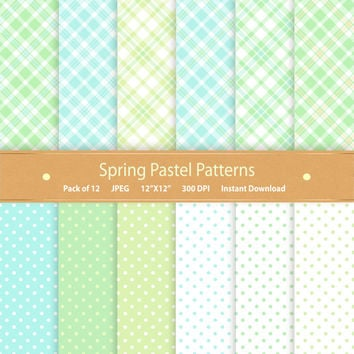Digital Paper Pack Spring Paper Pack Blue & Green Polka Dot Pastel Paper Plaid Patterns Commercial Use Digital Scrapbook Paper Backgrounds