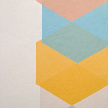 Geometric Print with Hexagons, Minimalist Print, Neon, Faceted Art Digital