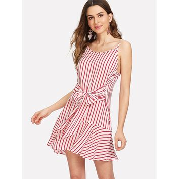 Red Spaghetti Strap Bow Tie Front Ruffle Hem Striped Dress