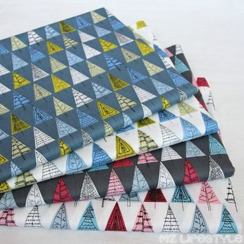 Buulqo 50 * 160cm Printed Triangle Patch Fabric 100% Cotton Twill Fabric for Sewing Baby Bedding DIY Craft Material