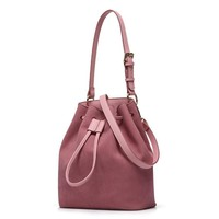 Bucket bag pink draw high quality PU leather casual