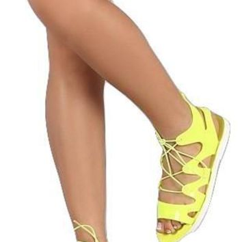 *Bamboo Jelly Lace Up Gladiator Sandal- Neon Yellow