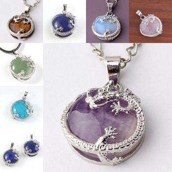 Kraft-beads Vintage Silver Plated Half Ball Stone Purple Amethysts Opalite Opal Chinese Dragon Pendant Lapis Lazuli Jewelry
