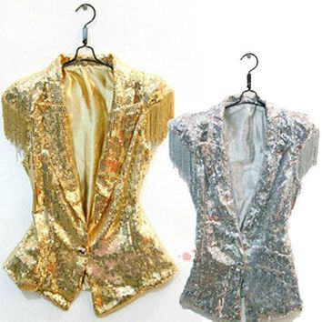Female Singer Ds Dance Costume Wear Sequins Fringed Veste Paillettes Jazz Dance Clothes Suit