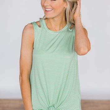No Holding Back Tie Tank Top- Mint