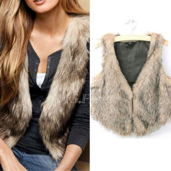 DCK9M2 Brand Winter Spring Women Vest Coats Vintage Faux Fur Vests For femme Elegant Casual Coats fashion female outerwear Clothing