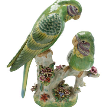Beautiful Chinese Porcelain Two Green Bird Figurine Statue