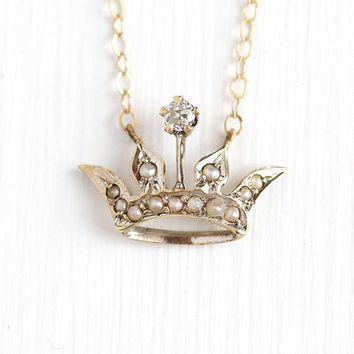 Antique Crown Pendant - 14k Yellow Gold Diamond Pearl Necklace - Vintage Edwardian Queen Royal Tiara Fine Stick Pin Conversion Charm Jewelry
