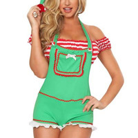 Green Suspender Striped Christmas Costume