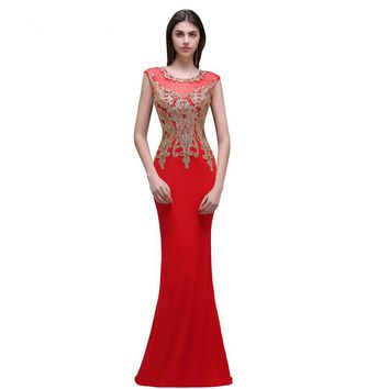 Crazy Mermaid Red Pink Long Evening Dress Party long Prom Gown 4 Styles