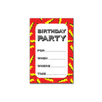 Printable Party Invitation Set - Birthday Party Lightning Bolts - Red / Pink / Purple