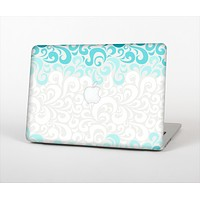 """The Teal Blue & White Swirl Pattern Skin Set for the Apple MacBook Air 11"""""""