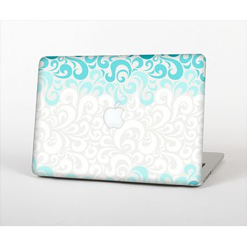 The Teal Blue & White Swirl Pattern Skin Set for the Apple MacBook Pro 13""